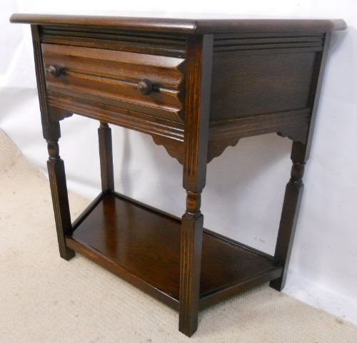 Polished Oak Side / Hall Table in Antique Jacobean Style